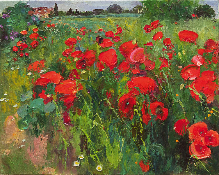 The poppies balance sweetly on the afternoon breeze.